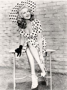 "Chili Williams 1940s film noir actress & also World War II pinup girl called ""The Polka Dot Girl"""