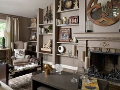 Northern Westchester Estate by SGH Designs. Love the shelves painted to match the walls as architecture.