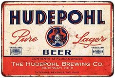 Hudepohl Pure Lager Beer Vintage Look Reproduction Metal Sign - 8x12