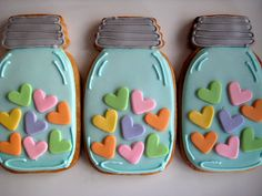 Hearts in mason jars~                          by sugarlily cookie, via Flickr, teal