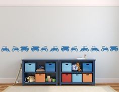 Set of Construction Vehicles Trucks Diggers Tractors Kids Boys Bedroom Nursery Removable Wall Sticker Decal Graphic Mural