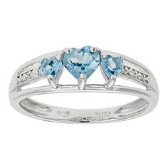 Diamond and 3 Stone Heart Blue Topaz Sterling Silver Ring Available Exclusively at Gemologica.com Valentine's Day 2017 #Jewelry #Gift #Ideas for #Him #Her Kids. #Gemologica has simple, unique #gifts for boyfriend, girlfriend, couples including #rings #earrings #bracelets #necklaces #pendants #Jewellery #couponcode #deals #sale #Presents for #girlfriends #boyfriends #kids #men #women #Gold #Silver #Fashion #Style