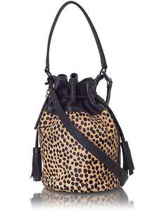 Loeffler Randall Bucket Bag Cheetah/Black