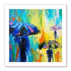 'Turquiose Rain' by Susi Franco Painting Print on Canvas