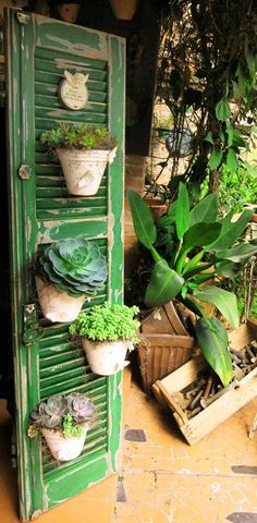 Old green shutter with flower pots. Old green shutter with flower pots. Old green shutter with flower pots. The post Old green shutter with flower pots. appeared first on Dress Models. Diy Garden, Garden Projects, Garden Pots, Upcycled Garden, Garden Pallet, Fruit Garden, Vegetable Garden, Succulent Pots, Succulents Garden
