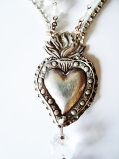 Vintage Upcycled Assemblage Necklace The Sacred Heart of Bling