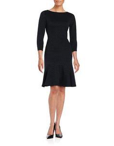 Ivanka Trump Plus Chevron Contrast Stitch Three Quarter Sleeve A-Line