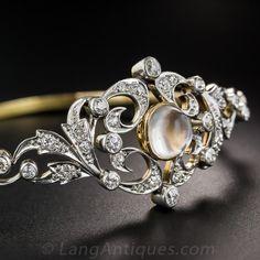 Edwardian Moonstone and Diamond Bracelet by Black, Starr