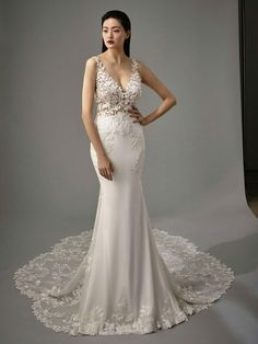 Blue Bridal by Enzoani Malia-L The fabric in this Blue by Enzoani style is Stretch Georgette & Lace Wedding Day Dresses, Crepe Wedding Dress, Wedding Dress Styles, Designer Wedding Dresses, Bridesmaid Dresses, Rembo Styling, Pnina Tornai, Blue By Enzoani, Matric Dance Dresses
