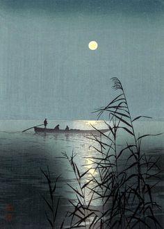 Shoda Koho, Mar iluminado por la luna, 1910-1920. Serie Escenas Nocturnas. Xilografía a color, 17,8 x 24,8 cm.