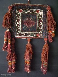 Baluch tribal vanity bag with long tassels Textiles, Asian Rugs, Vanity Bag, Geometric Rug, Star Patterns, Tribal Art, Syria, Kilims, Textile Art
