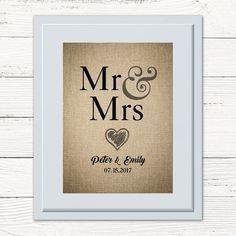 Personalised Wedding Gift. Hessian effect print Mr & Mrs.