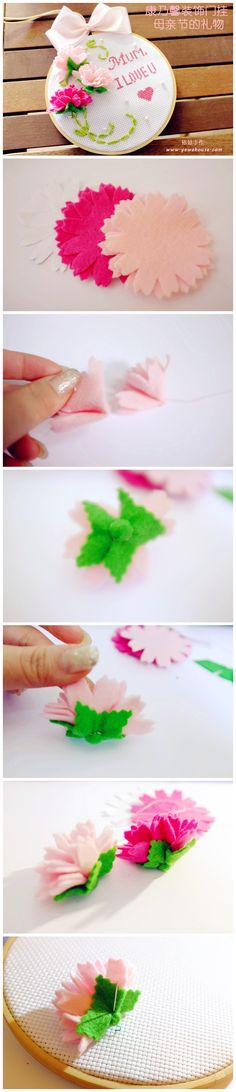 :) Here is the Inspirational Monday on diy flower series – Dimensional Felt Flowers. This week is about making DIY Dimensional Felt Flower here. Felt Flowers, Diy Flowers, Fabric Flowers, Paper Flowers, Felt Diy, Felt Crafts, Crafts To Make, Diy Crafts, Fabric Paper