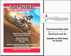 Dirtbike Race Red Party Birthday Invitations by PrintVillaInvites