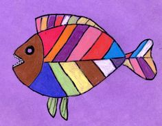 Art Projects for Kids: Abstract Fish Drawing