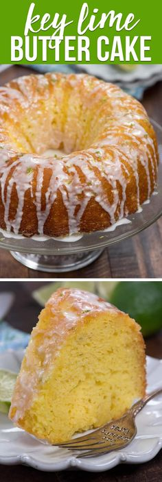 An EASY Key Lime Butter Cake is a cake that explodes with lime flavor. The cake is soaked with lime syrup and the whole thing is topped with key lime drizzle - this cake screams key lime dessert! via @crazyforcrust