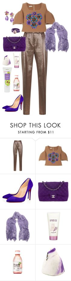 """""""pls like if u are going to use item"""" by alaa88 ❤ liked on Polyvore featuring Alberta Ferretti, Delpozo, Christian Louboutin, Chanel, Bulgari, Valentino, Skinfood, French Kiss and Korres"""