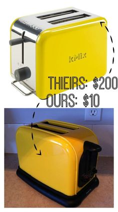 Painted Toaster  – a $10 DIY Yellow Toaster