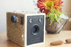 Glittery Box Camera, Winter Wedding Decor. $40.00, via Etsy.