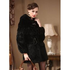2013 Latest Style High-Quality Fur Coat for Women, Long Length Style Rabbit Fur Made Overcoat with Slim Design on Hot Sale