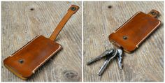 Leather key holder veg tanned leather keychain от ByHandStore