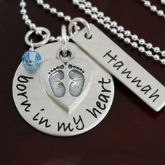 Born in My Heart Necklace - Adoption Jewelry - Sterling Silver by GracieAndMeDesign on Etsy