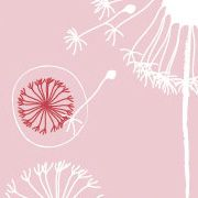 pink dandelion fabric