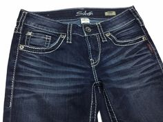 SILVER AIKO Womens 25/34 Dark Whiskers Thick Stitch Boot Cut Stretch Denim Jeans #SilverJeans