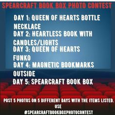 Attention November box recipients! Today is the last day to begin our #spearcraftbookboxphotocontest!!  To participate you must have the November Wonderland #spearcraftbookbox. The contest ends December 15th (my bday ) at midnight EST. The rules are that you must do each of the 5 photos over 5 different days and include the hashtag from this photo in your post. Please also tag @spearcraft and #spearcraftbookbox.  There are no set dates for each photo just as long as all 5 are done by end of…