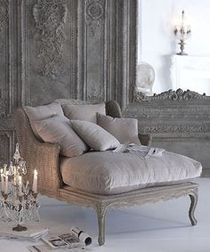 "A chaise with a candelabra next to it- I would be so effing dramatic for no reason at all."" RUN TO MY CHAISE. French Country House, French Country Decorating, French Cottage, French Country Chairs, French Chairs, French Style Sofa, Modern French Decor, French Country Interiors, French Sofa"