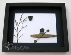 Unique Nautical Themed Artwork  Pebble Art  Kayak by SticksnStone