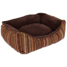 Fashion Plush Retangular Pet Lounger in Blue and Brown Stripe Chenille ** For more information, visit image link. (This is an affiliate link) #BedsFurniture