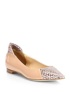 Dress up those essential nude flats with sexy snake. Reed Krakoff | #SFA