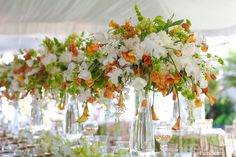 Beautiful #orange #green and #white centerpieces