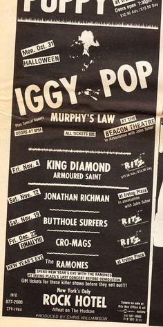 Iggy Pop Jonathan Richman, Murphy Door, Beacon Theater, Irving Plaza, Music Flyer, Iggy Pop, Rich Man, Ramones, Rock N Roll