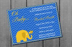 Blue and Orange Elephant Baby Shower by NorthernDesigns on Etsy, $9.00