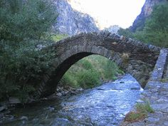 Pont de Sant Antoni bridge over the Valira del Nord river-Anyos village Andorra, Garden Bridge, Spain, Sidewalk, Europe, Outdoor Structures, Mountains, City, Bridge