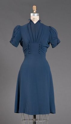 A lovely blue day dress, 1939 | FIDM Museum