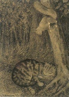 Katt og ekorn / Cat and squirrel, Theodor Kittelsen. Norwegian (1857 - 1914) - Pen on Paper -
