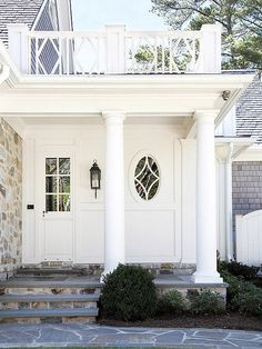Create a polished and sophisticated entry by choosing the same color or metal finish for exterior elements such as entrance hardware, door knockers, house numbers, mailboxes, and porch lights: http://www.bhg.com/home-improvement/exteriors/curb-appeal/enhance-front-entry/?socsrc=bhgpin031414coordinatehardwareandlighting&page=13