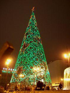 An Árbol navideño luminoso in Madrid (2011) / Christmas light tree at Puerta del Sol (square) in Madrid (Spain).