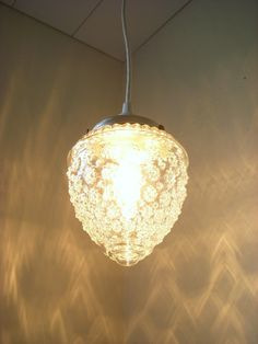 Raspberry Shaped Textured Hanging Pendant Lighting Fixture Crystal Clear Dazzling Diamonds Pressed Glass