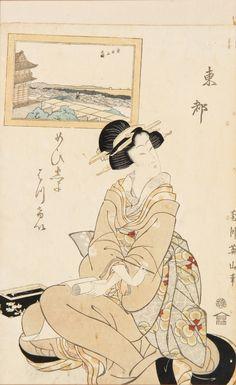 "Japanese Woodblock Print, framed, slipped in mat. Size: 14.5"" x 9"", 37 x 23 cm (sight), 23"" x 16"", 58 x 41 cm (frame)."