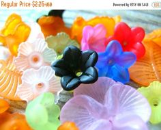 Clearance Sale Bead Lot - Flower and Leaf Beads - Flower Beads - Leaf Bead Lot by BohemianGypsyCaravan