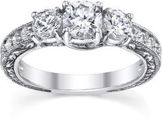 ApplesofGold.com - 1 Carat Antique-Style Three Stone Diamond Engagement Ring, 14K White Gold
