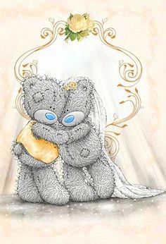 Wedding Evening Invitation Acceptance Me to You Card Tatty Teddy, Teddy Pictures, Cute Pictures, Watercolor Card, Teddy Beer, Celebration Love, Bear Images, Bear Wedding, Blue Nose Friends