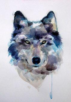 урок рисования акварелью - «Как нарисовать волка»