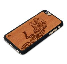 iPhone 6 Case Dinosaur The case is made of 100% natural wood and black matte plastic. Carefully engraved on Mahogany, which is a perfect wood for engraving, it brings out clear image which perfectly fits on your iPhone 6. It blends the trends of contemporary modernism and timeless classics, thereby making your smartphone gleaming with…