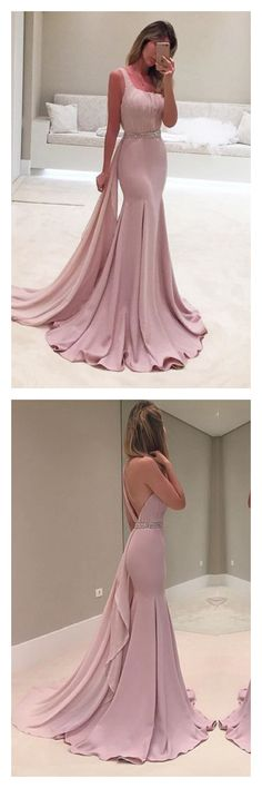 Backless Prom Dresses, Long Prom Dress, Mermaid Formal Dresses, One Shoulder Evening Gowns, Chiffon Party Dresses Prom Dresses Long Pink, Blush Prom Dress, Prom Dresses For Teens, Elegant Prom Dresses, Prom Dresses 2018, Backless Prom Dresses, Mermaid Prom Dresses, Cheap Prom Dresses, Bridesmaid Dress