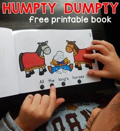 Free Humpty Dumpty book – The Measured Mom We love nursery rhyme activities, so this Humpty Dumpty book was big hit! So great for teaching concepts of print. Nursery Rhymes Preschool, Nursery Rhyme Theme, Rhyming Activities, Book Activities, Rhyming Riddles, Reading Resources, Books For Beginning Readers, Concepts Of Print, Phonics Books